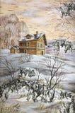 La maison avec un découpage en bois Images stock