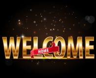 La maison bienvenue, concept d'encourager, typographie d'or avec des pouces lèvent le signe Photographie stock libre de droits