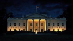 La Maison Blanche la nuit banque de vidéos