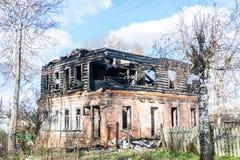 La maison brûlée Photos libres de droits