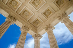 La Maison Carrée. Maison Carrée, an example of Vitruvian architecture, it is one of the most well preserved Roman structure. It is located in Nimes, France royalty free stock photography