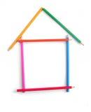 La maison a combiné des crayons de couleur (11) .jpg Image libre de droits