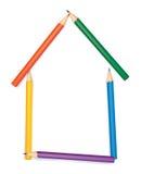 La maison a combiné des crayons de couleur illustration de vecteur