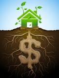 La maison croissante signent comme l'usine avec des feuilles et le dollar comme la racine illustration de vecteur
