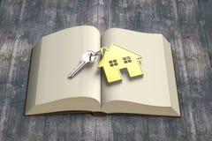 La maison d'or et la clé sur l'ouverture réservent avec le vieux tabl en bois illustration de vecteur