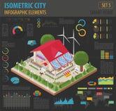 La maison 3d et la ville futées isométriques plates tracent les éléments s de constructeur Photos libres de droits