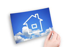 La maison dans le ciel Images stock
