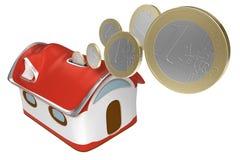 la maison de 3d Piggybank avec d'euro pièces de monnaie a isolé le graphisme Photo libre de droits