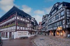 La maison de Tanneurs restaurant timber house in the petite France area in Strasbourg, France stock photo