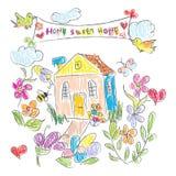 La maison douce gribouille la carte Images stock