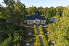 La maison du poète A S Pushkin dans un manoir Mikhaylovsky Collines de Pushkin, Russie images libres de droits
