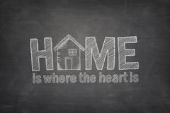 La maison est où le coeur est concept des textes sur le tableau noir illustration de vecteur