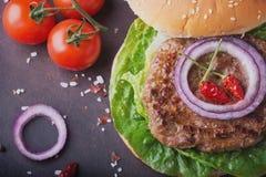 La maison a fait la cuisson d'hamburger Photographie stock libre de droits
