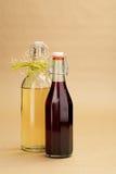 La maison a fait les vins rouges et blancs dans les bouteilles classiques Photographie stock