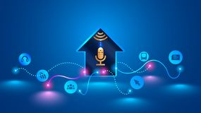La maison futée identifie des commandes de voix et contrôle les dispositifs intelligents photographie stock
