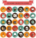 La maison objecte des icônes d'ombre Photo stock