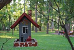 La maison originale pour des oiseaux sur une branche d'arbre en parc de ville photographie stock libre de droits