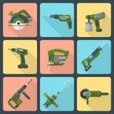 La maison plate transforment des icônes de machines-outils illustration libre de droits