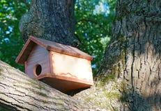 La maison pour des oiseaux est placée sur un tronc d'arbre en parc photos libres de droits