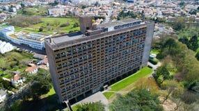 La Maison Radieuse空中照片在Rezé,卢瓦尔河大西洋省 免版税库存照片