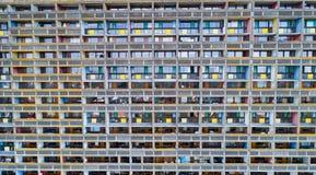 La Maison Radieuse门面空中照片在Rezé,卢瓦尔河Atlant 免版税库存照片