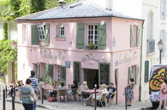La maison rose. PARIS, FRANCE - MARCH 5: Historical bistro on Montmartre - La Maison Rose - Pink House. Maurice Utrillo painted it around 1912, in Paris Royalty Free Stock Photos