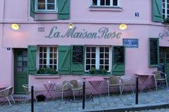 La Maison Rose restaurant on Montmartre in Paris. On November 04, 2012. La Maison Rose is a must tourist attraction on Montmartre Stock Images
