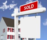 La maison A VENDU le signe d'immeubles Image libre de droits