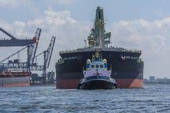 La majestad enorme de Samos del carguero de graneles está navegando al muelle del OBA Fotografía de archivo libre de regalías