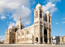 La Major. Cathedral de la Major - one of the main church and local landmark in Marseille, France Royalty Free Stock Photos