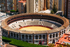 La Malagueta är tjurfäktningsarenan Malaga, Spanien Arkivbilder