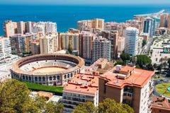 La Malagueta är tjurfäktningsarenan Malaga, Spanien Arkivfoto