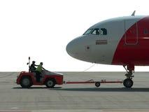 La Malaisie. Avion étant poussé outre de la porte Photos libres de droits