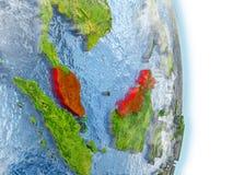 La Malaisie en rouge sur terre illustration stock