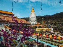 La Malaisie - fleurs et temple à Penang image stock