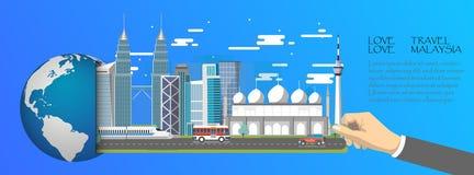 La Malaisie infographic, global avec des points de repère de la Malaisie, style plat Images stock