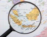 La Malesia e l'Indonesia sotto la lente Immagini Stock