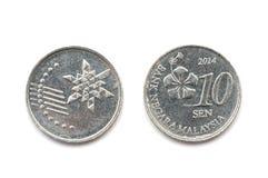 La Malesia una moneta da dieci centesimi Fotografia Stock Libera da Diritti