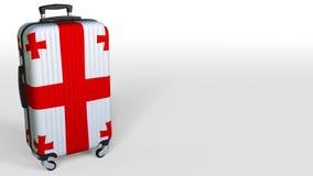 La maleta del viajero con la bandera de Georgia Animación conceptual 3D, espacio en blanco del turismo georgiano para el subtítul libre illustration