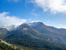 La Maliciosa. Views of the La Barranca Valley, in Guadarrama Mountains, Madrid, Spain. In the background, the peaks of La Maliciosa and Alto de Guarramillas Stock Images