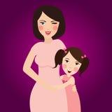 La mamá ama su abrazo de la hija en una relación hermosa de la sonrisa del retrato libre illustration