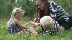 La mamá juega con los niños en el parque almacen de video