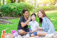 La mamá y el hijo del papá disfrutan de día de fiesta del día de la familia de la comida campestre imagen de archivo