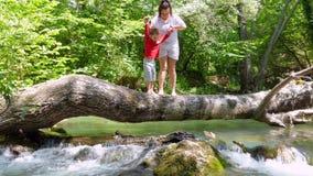 La mamá y el hijo están caminando en un registro que cayó a través del río para sentarse en él metrajes