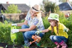 La mamá y el niño son jardineros fotografía de archivo