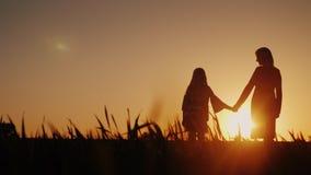 La mamá y la hija están admirando la puesta del sol, llevando a cabo las manos Concepto feliz de la niñez imagen de archivo
