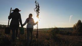La mamá y la hija son el ir que va a plantar un árbol almacen de metraje de vídeo