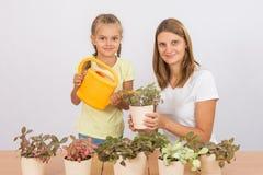 La mamá y la hija toman el cuidado de flores en conserva Imágenes de archivo libres de regalías