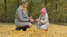La mamá y la pequeña hija recogen las hojas caidas amarillo en otoño Imagen de archivo libre de regalías