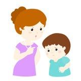 La mamá regaña a su hijo en el ejemplo blanco del fondo Imágenes de archivo libres de regalías